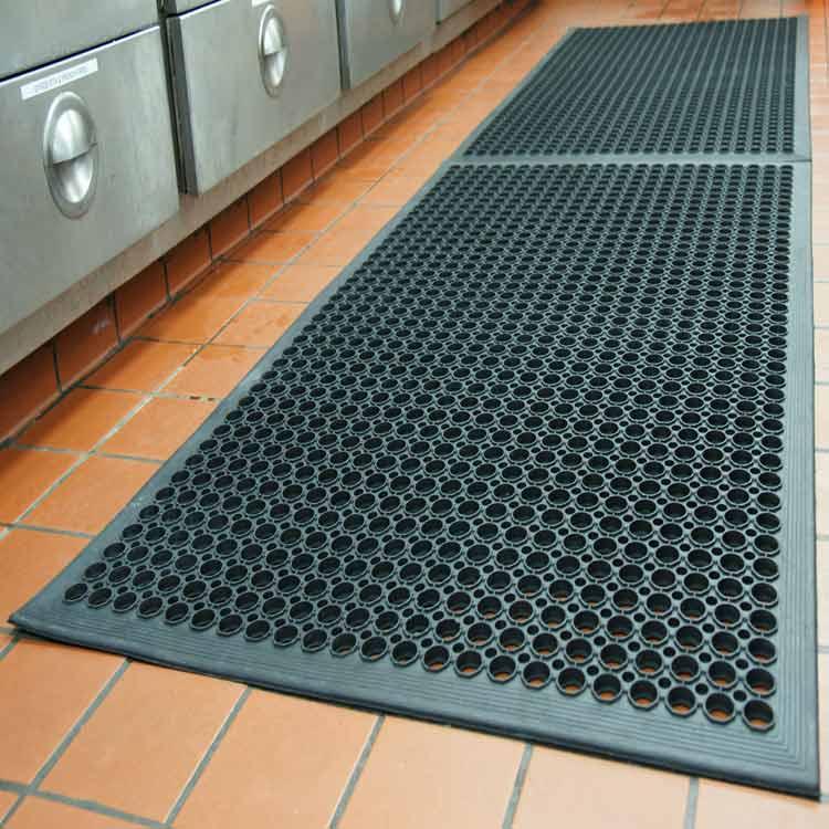 Inter-Locking Rubber Anti-Fatigue Restaurant Indoor Outdoor Door Mat,60 x 90cm