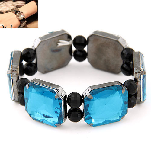 European & American luxury vintage box Blue Gems stretch Rhinestone bracelets & bangles Fashion Crystal Bracelets for Women