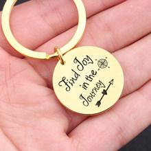 Брелок для ключей Find Joy In The Journey, для друзей, для путешествий, для влюбленных, ювелирное изделие, брелок-компас, подарок для мужчин и женщин(Китай)