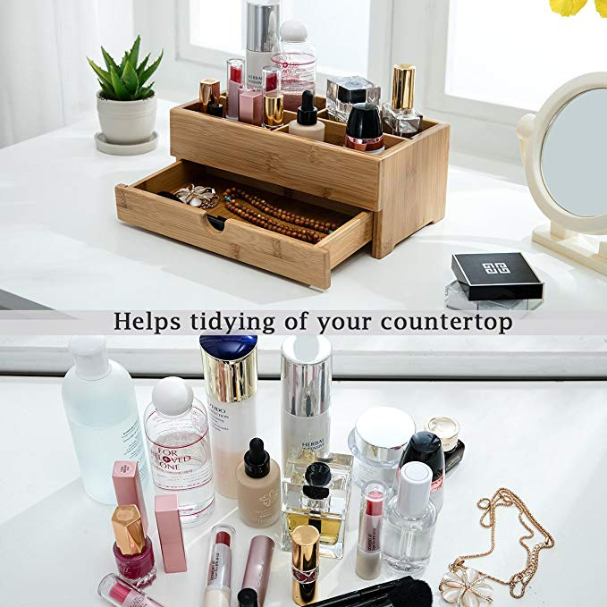Skincare Gift Makeup Organizer Bamboo Wooden Cosmetic Storage Box With Drawer Divider 9