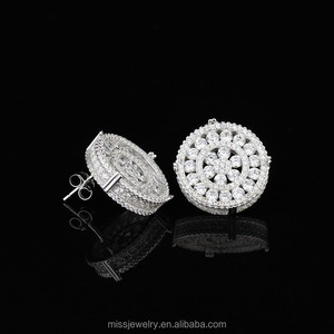 Dubai fashion design 925 sterling silver earring designs new model earrings, crystal stud earring for men