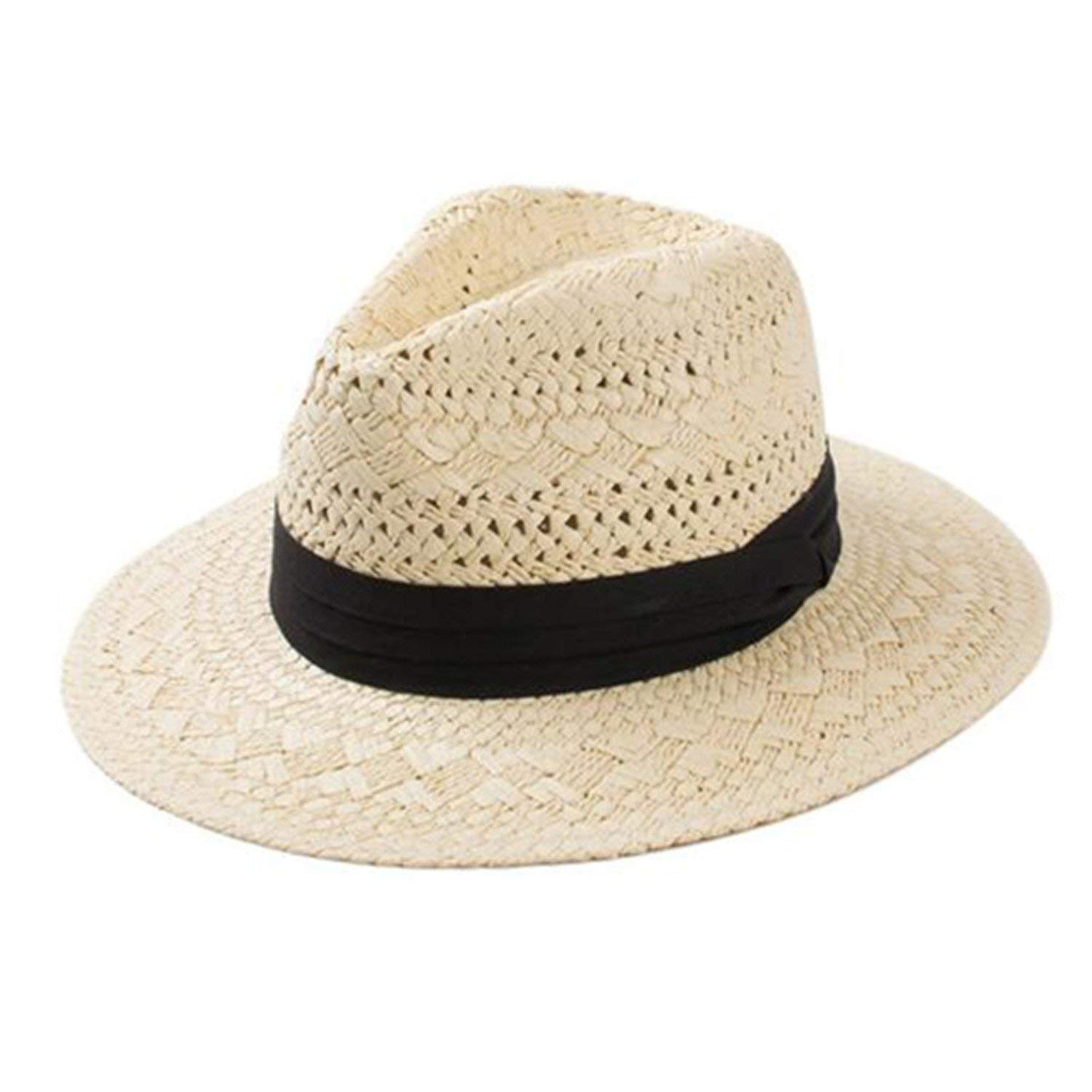 1b86972c2f12b Get Quotations · Zachaomero Hollow Straw Sun Hats for Women Trilby Summer  Hats with Wide Brim Beach Uv Hat