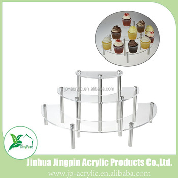 Clear Acrylic 3 Tier Half Moon Shelf Unit, Table Top Retail Display Riser, Bread Rack