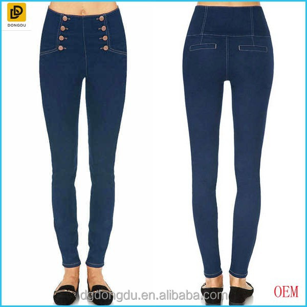 High-waisted Matelot Tight Jeans For Girls