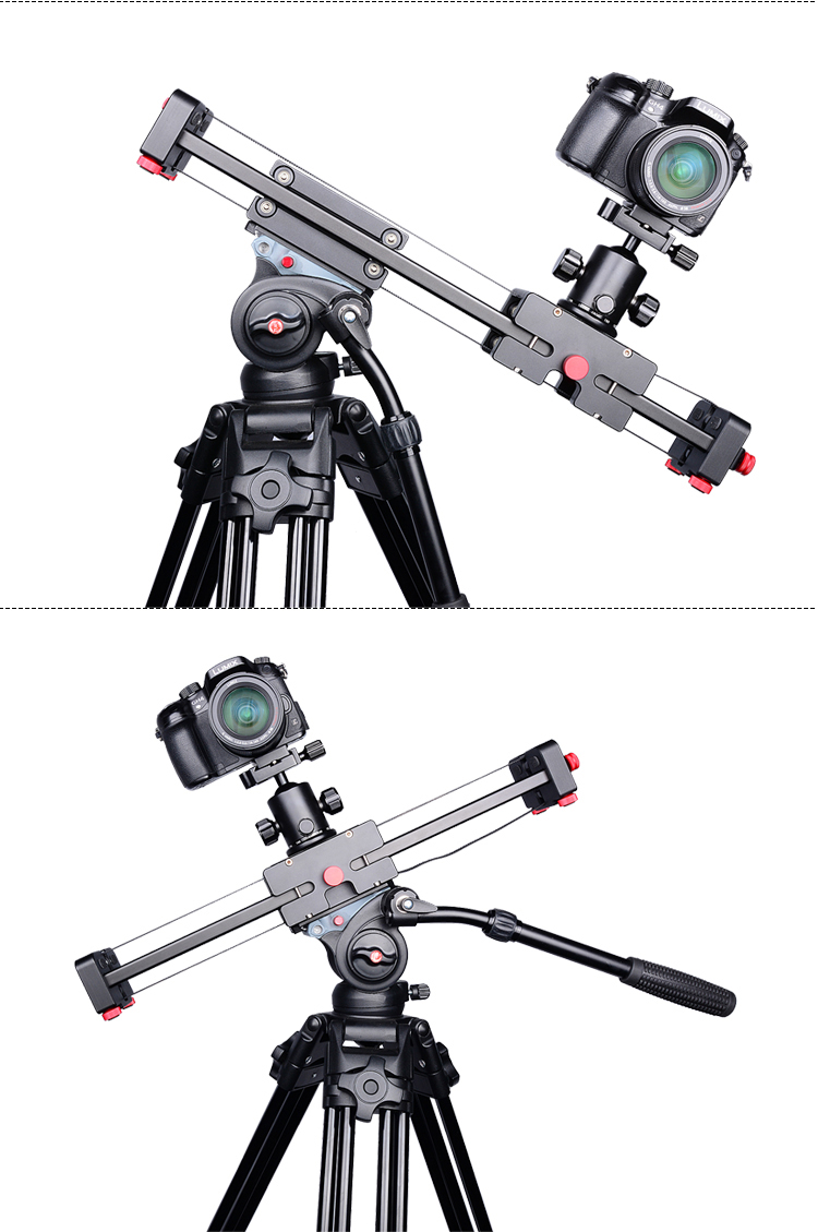 YELANGU Retractable Video Camera Slider L50D Dolly 50cm Track Rail Stabilizer 100cm Actual Sliding Distance Load Up to 5kg