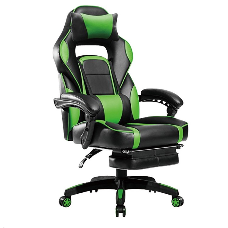 Cheap Office Computer Pc High Back Leather Pillow Chair Green Ergonomic Swivel Racing Gaming Chair with Headrest and Footrest
