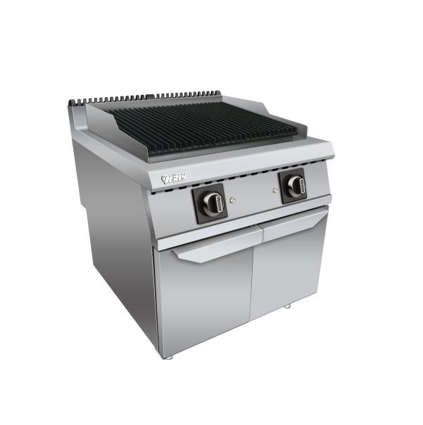 Rvs catering equipements/Gas range barbecue lava rock grill met kast CR-GC-709