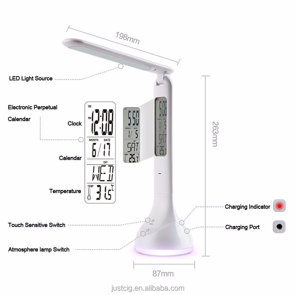 Portable LED Desk Lamp, Table Lamp With Calendar, Reading LED Lamp(3W, Dimmable, Touch Control,Rechargeable,Portable,)