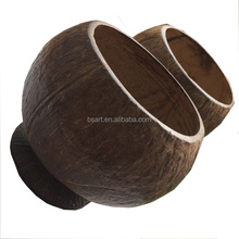 100% Natural Coconut cups Coconut Shell Cups on Wooden Bases