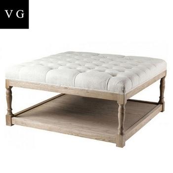 Francés Estilo Vintage Muebles De Sala Roble Sólido Cuadrado Botón ...