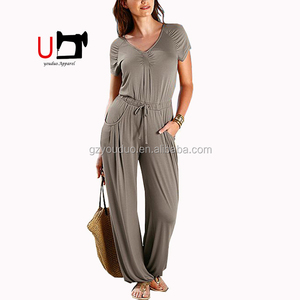 4122e0c9eb6 Hot Comfortable Cotton Loose Short Sleeve With Long Pants One Piece  Jumpsuit Beach Wear for Women