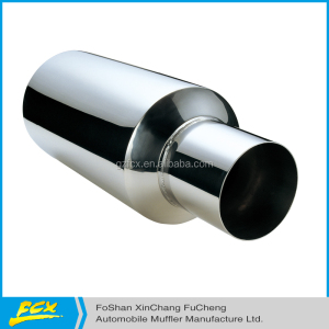 "auto parts exhaust muffler round polished universal muffler with single tip 22""*7""universal muffler"