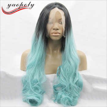 Long Natural Wave Light Blue Wig Dark Roots Heat Resistant Fiber Full Lace  Wig Two Tone 5683d6607a