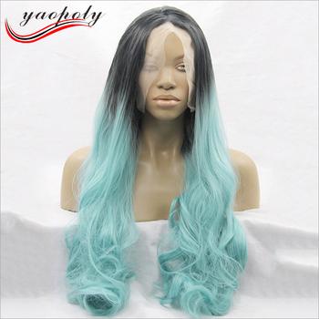 Long Natural Wave Light Blue Wig Dark Roots Heat Resistant Fiber Full Lace  Wig Two Tone d96e9d7d58