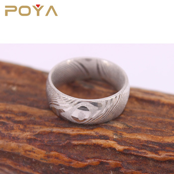 POYA Jewelry Custom Made Mens Womens 6mm & 8mm Domed Damascus Steel Wedding Ring