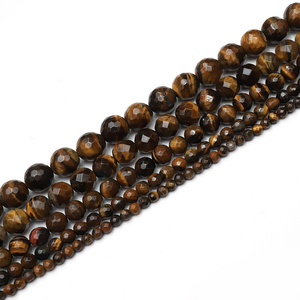 "JOYFFO Brand 15.5"" 1 strand Natural Tiger Eye Gemstone Loose Facet Beads 8mm Spacer Beads For Jewelry Making"