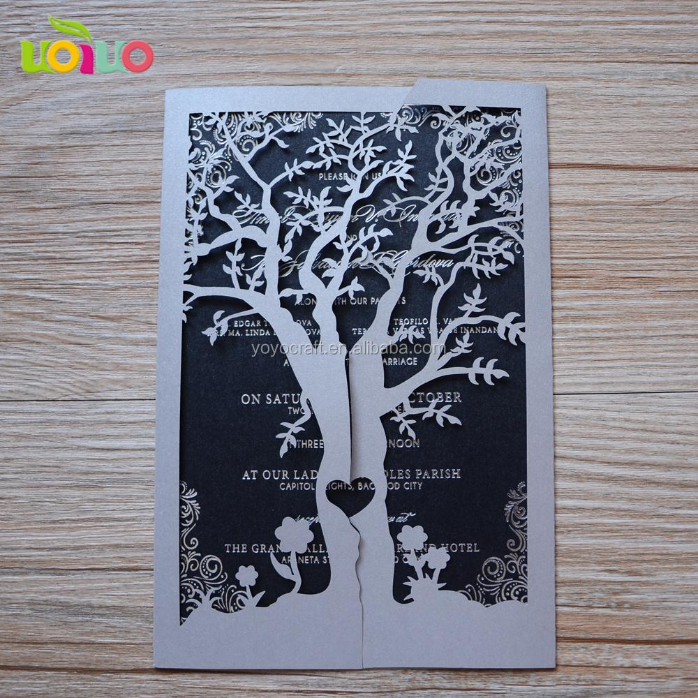 2014 Heißer Verkauf Lasergeschnittenen Einladung Karten Papier Liebe Baum Hochzeit  Einladungskarten Modelle Mit Inneren Papier Und