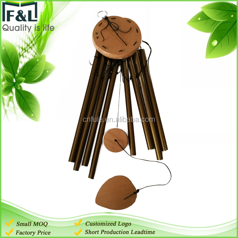 Custom logo decorative gardern and home beech wood aluminum 8 tubes tuned wind chimes for sale