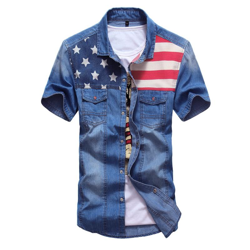 Interesting Vintage mens two pocket denim shirt for