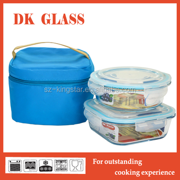 Round Square Set Of Glass Food Container Storagepyrex Glass Food