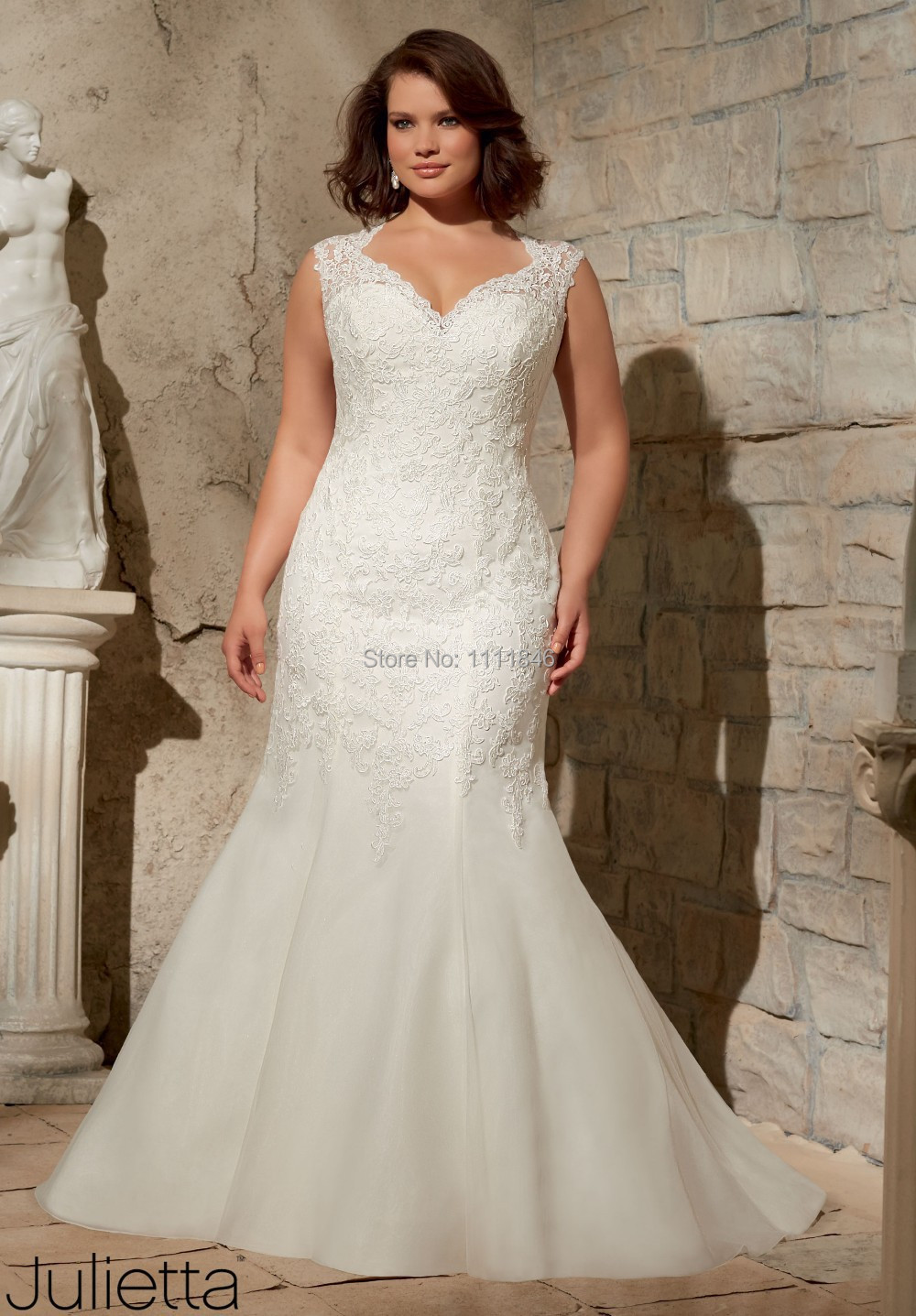 2015 vestido de noiva Plus Size Mermaid Wedding Gown Lace ...