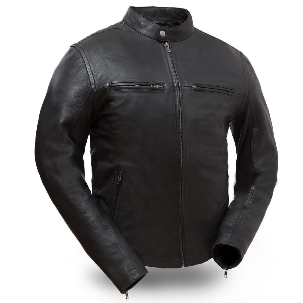 First Manufacturing mens Hipster Leather Jacket(Black,Medium),1 Pack