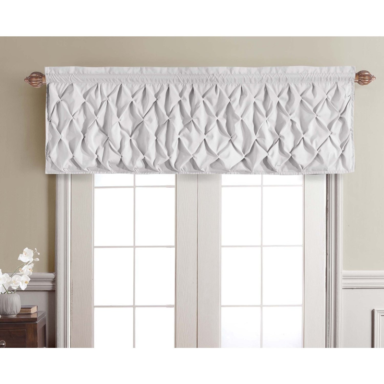 blind using most valance on windows curved bring in rod gallery venetian room new draperry wrought nuance with living elegant ivory brown ruffle black and seen treatment featured for valances combined interior dark iron curtain hanging two
