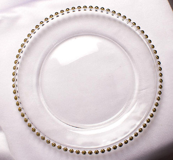 Cheap wholesales excellent 13 inch gold beaded wedding plastic charger plate