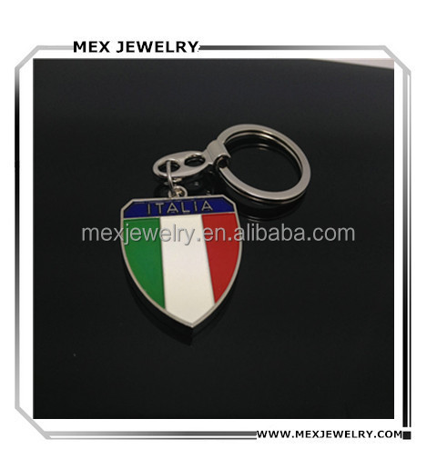 Professional metal souvenir Italy national flag keychain wholesale