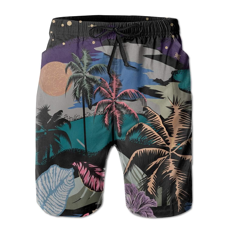 720bf1c9a1 Get Quotations · Kurabam Beach Volleyball Shorts, Tropical Plants Beach  Swim Shorts for Men Boys, Outdoor Short