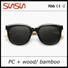 New Design pc Sunglasses with bamboo temple for sunglass