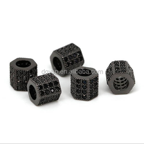 Inspire jewelry custom high quality pendants and charms Drum barrel beads micro pave Black bead for DIY jewely