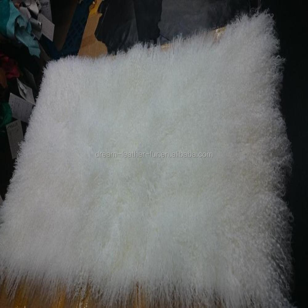high quality bleached snow white color mongolian lamb fur plate