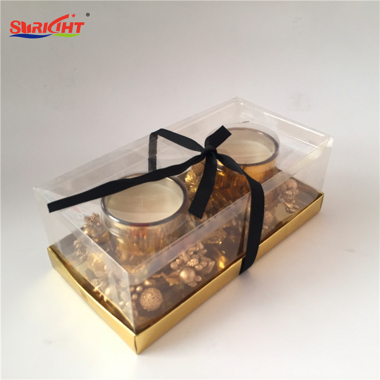 Soy Wax Perfumed Candle Gold Glass Jar Gift Set with Luxury Christmas Black Ribbon Bow