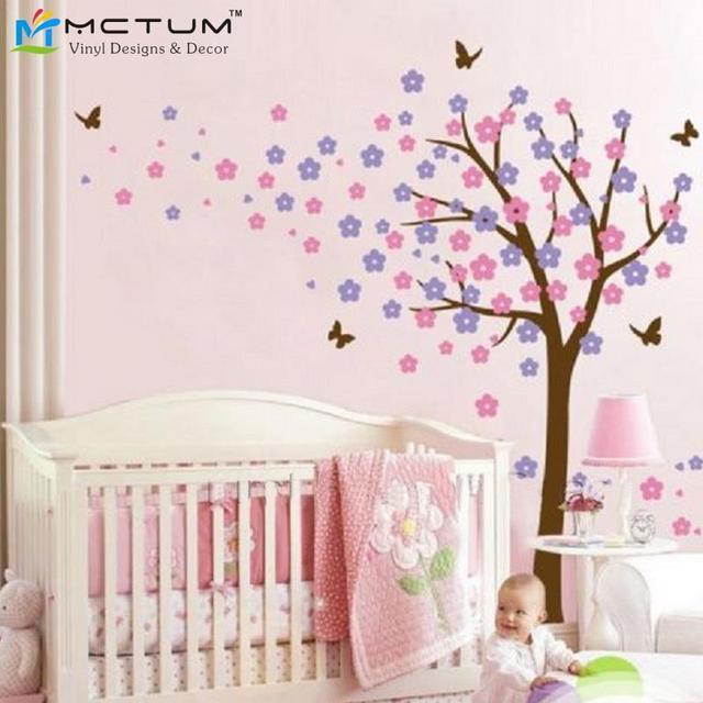tableau deco chambre fille stickers arbres papillon fleurs nursery enfants fille chambre with. Black Bedroom Furniture Sets. Home Design Ideas