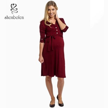a4b4aa4afb3 M3201 fashionable maternity wear wine office dress for pregnant women