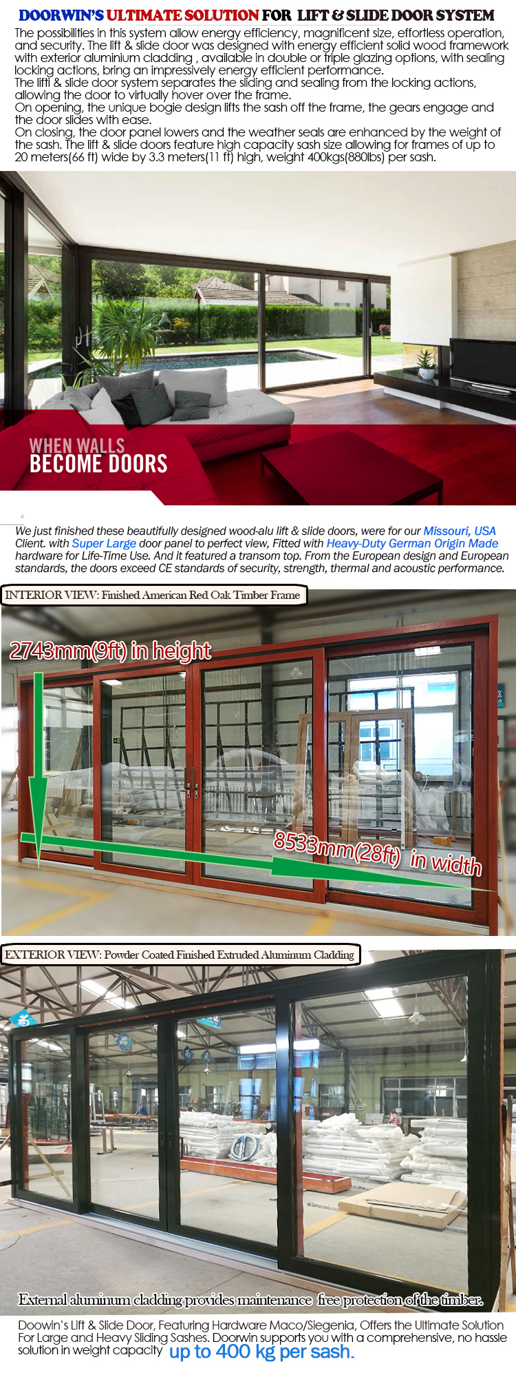 Texas Garage door design aluminum sliding lock frosted glass glazed fireproof