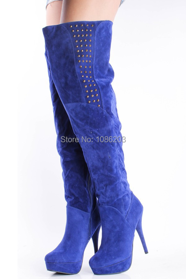 a36958c695e9 Get Quotations · Warm Royal Blue Canvas Material Over the Knee Winter Women  Boots Decorated with Rivets Spike High