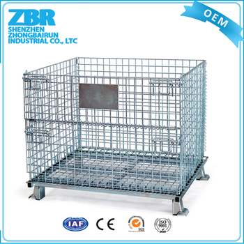 Wire Mesh Box Pallet Stainless Steel Storage Cages Collapsible Cage