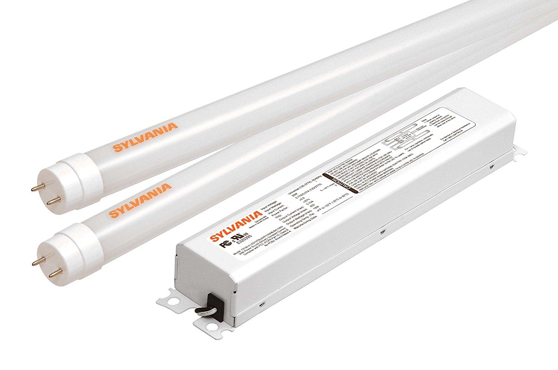 get quotations � sylvania ultra he led t8 retrofit kit / two lamp led tubes  replacing 2-feet
