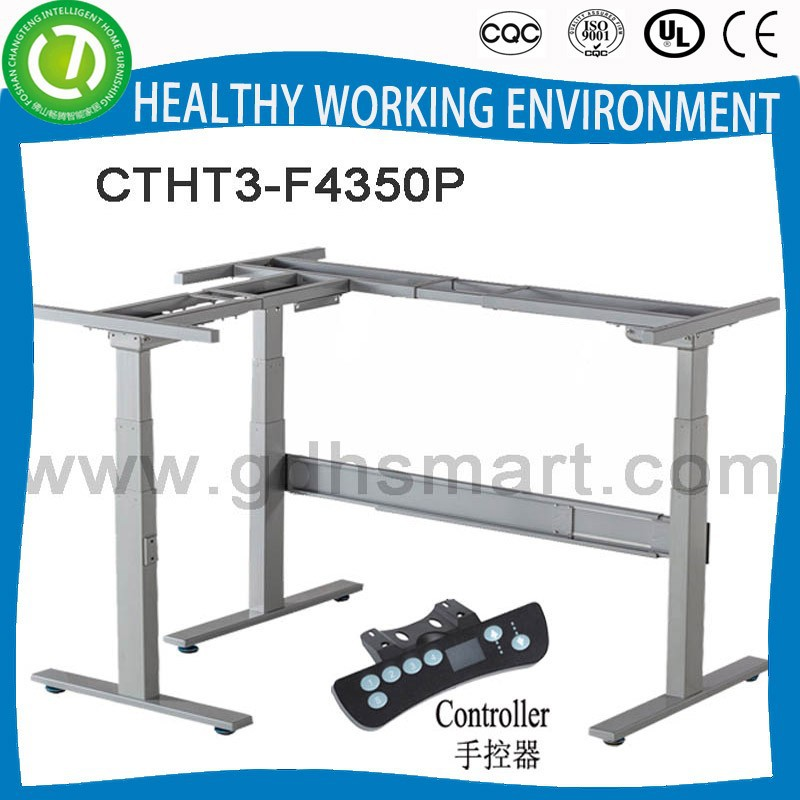 Linear stepper motorized table Height adjust desk frame with three pillar