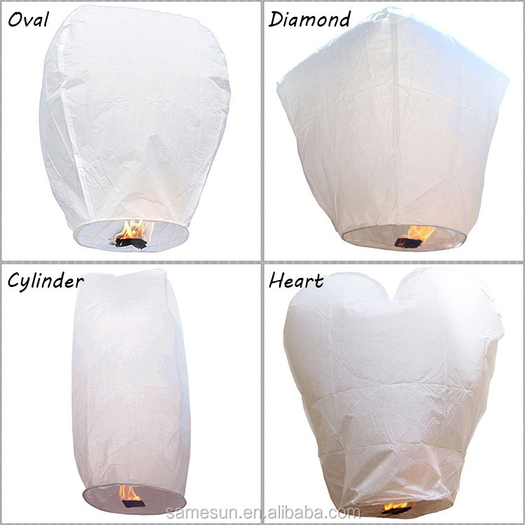 Meilun Art Crafts17g Flame Retardant Copy Paper Chinese Paper white Oval,heart Sky Lantern for Party,Festival or other events