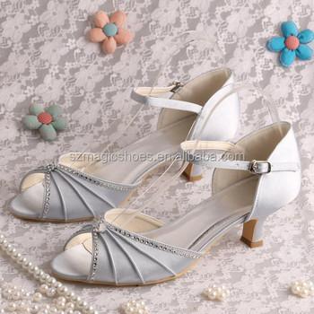14 Colors Silver Rhinestone Bridal Low Heel Wedding Shoes Sandals