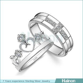 Women Crown Finger Rings Men Cross Wedding Rings Platinum