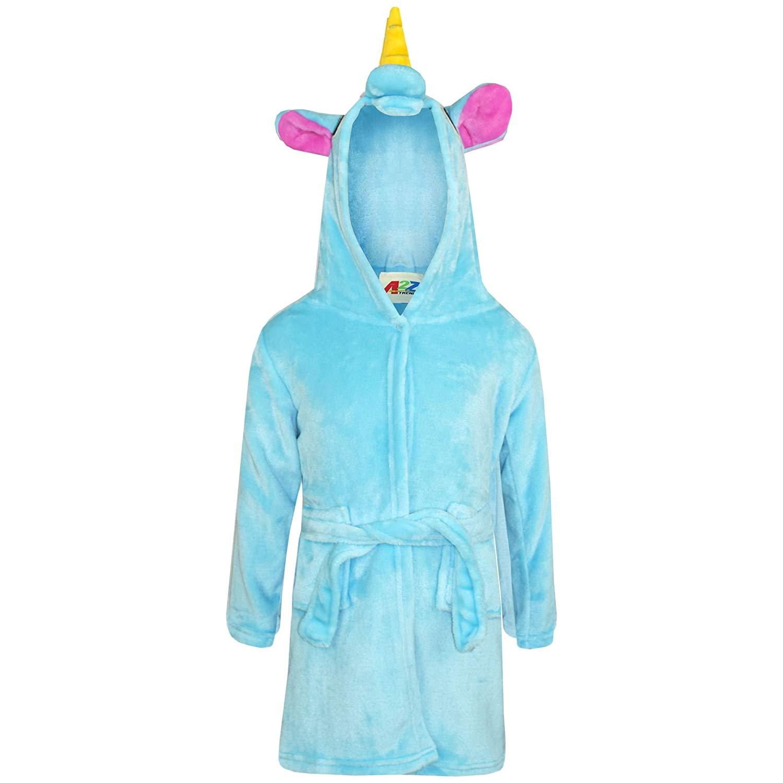 1b02907049 Get Quotations · Girls Boys Bathrobe 3D Animal Unicorn Blue Dressing Gown  Fleece Night Loungewear