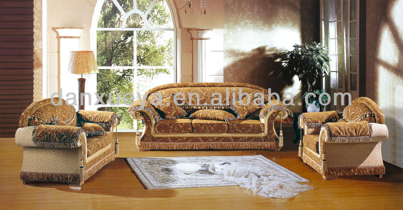 Dxy 3089 Fully Fabric Indonesian Furniture Price Royal Carved Flower Sofa In Yellow Color