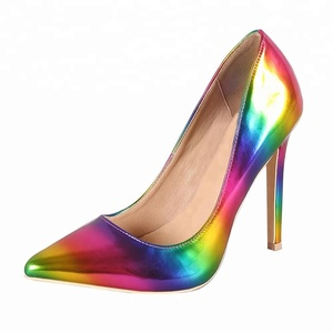 3e5e2c6912212 High Heels Manufacturer Custom Heel Shoes Rainbow Print Ladies Heel Shoes  2018 Colorful
