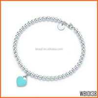Fashion Wholesale 925 Sterling Silver Heart Charm Bead Bracelet