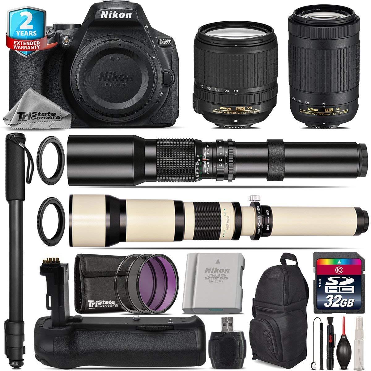 Holiday Saving Bundle for D5600 DSLR Camera + AF-P 70-300mm VR Lens + 18-140mm VR Lens + 650-1300mm Telephoto Lens + 500mm Telephoto Lens + Battery Grip + 2yr Warranty - International Version