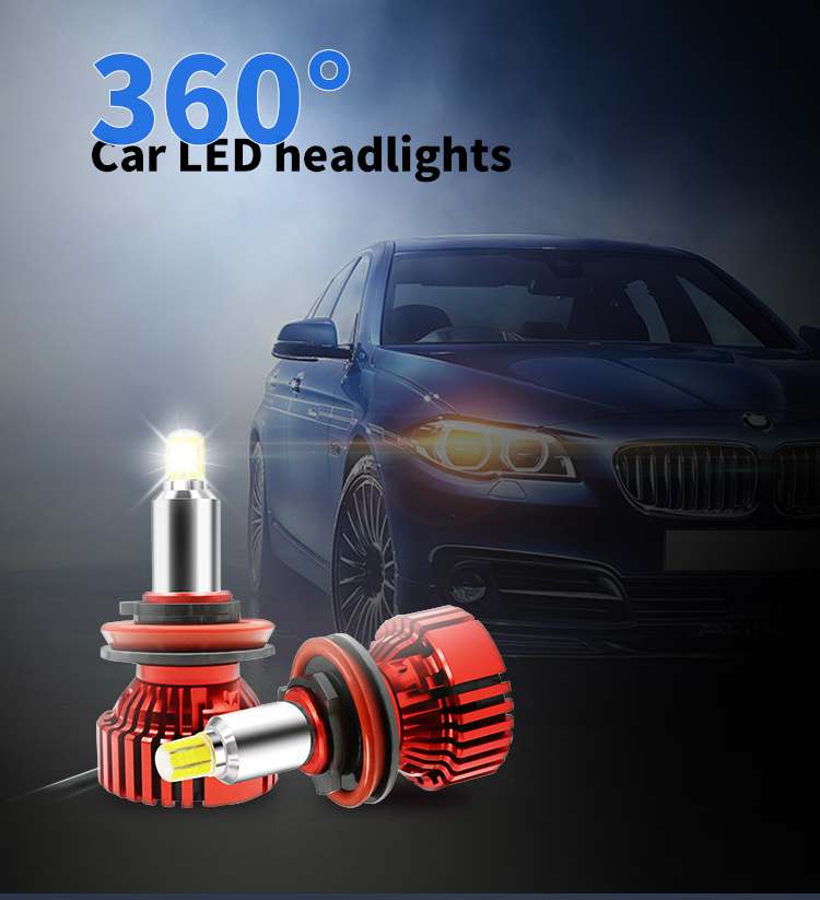 2019 new design  h7 h8 9005 9006 360 car LED  headlight  with 4500lm 6500k